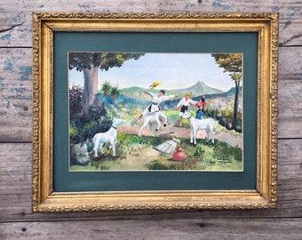 Comalapa School of Naive Painting Original Framed Oil Painting 11 x 14, Mayan Guatemala Art