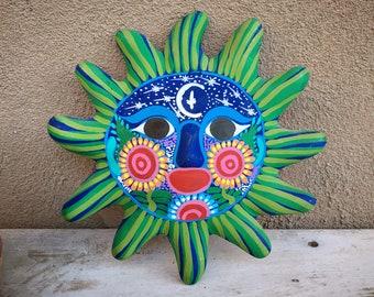 Colorful Green Sun Face Guerrero Pottery Wall Hanging, Mexican Folk Art, Rustic Southwestern Decor