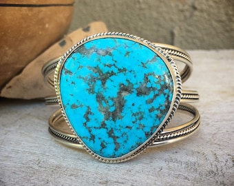 Large 49g Turquoise Cuff Bracelet for Women, Native American Indian Jewelry