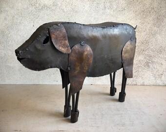 Metal Folk Art Pig Statue for Yard Patio or Home, Farmhouse Decor, Garden Art, Hog Lover Gift