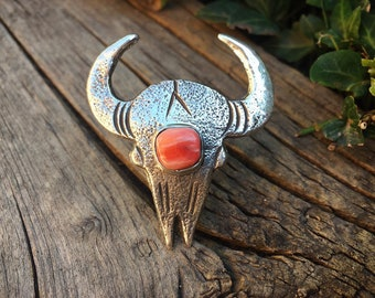 Spiny Oyster Sterling Silver Steer Ring for Women Size 7.5, Native America Indian Jewelry Cowgirl