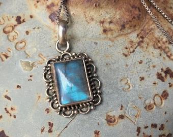 Labradorite Sterling Silver Pendant Necklace, Bohemian Jewelry, June Birthday Gift Girlfriend
