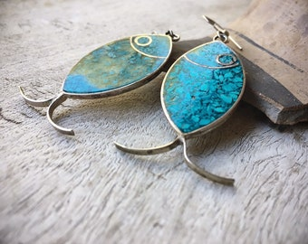 Vintage Crushed Turquoise Inlay Fish Earrings on Alpaca German Silver Dangles, Mexican Jewelry