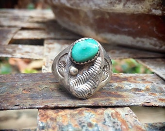 Sterling Silver Vintage Turquoise Ring for Men Size 10.25, Navajo Men's Ring, Native American Indian Jewelry