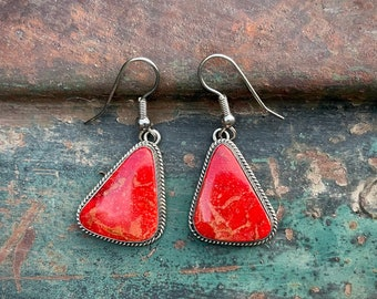 Vintage Signed Milton Lee Navajo Apple Coral Silver Dangle Earrings, Native America Indian Jewelry