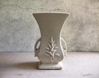 Vintage McCoy Pottery Vase Matte White Double Handle Vase Leaf Art Deco Style