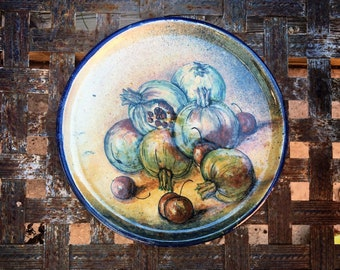 "Vintage 11"" Mexican Pottery Decorative Plate with Pomegranate, Guanajuato Mexico Plates Wall Art"
