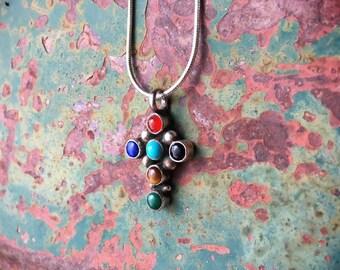 Small Multistone Turquoise Cross Pendant Necklace Native America Indian Jewelry, Communion Gift Catholic Cross