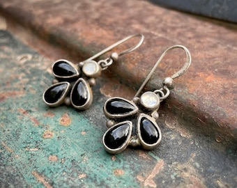 Small Vintage Black Onyx and Moonstone Cluster Earrings for Women, Southwestern Jewelry