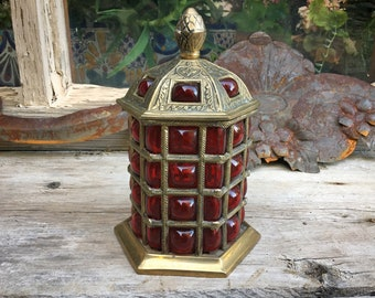 Lattice Bubble Red Glass Etched Brass Lidded Box, Hollywood Regency, Stash Box, Caged Glass Urn