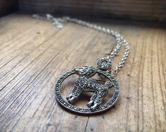 Vintage Marcasite Poodle Pendant Necklace for Women, Sterling Silver Standard Poodle Jewelry
