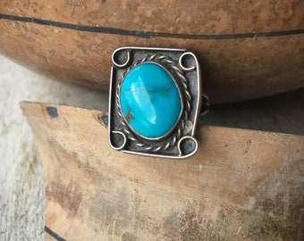 Old Pawn Turquoise Ring for Women, Native American Indian Jewelry, Real Turquoise Navajo Ring