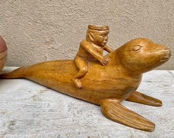 Vintage Southeast Asian Carved Wood Man Riding Sea Lion Seal Sculpture, One of a Kind Folk Art
