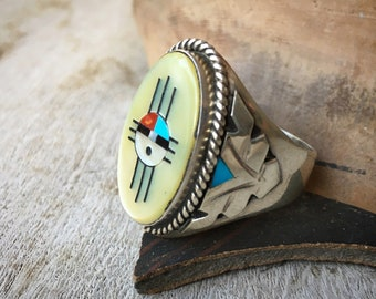 Size 13 Large Zuni Sunface Channel Inlay Ring with Yellow Mother of Pearl Turquoise, Native American