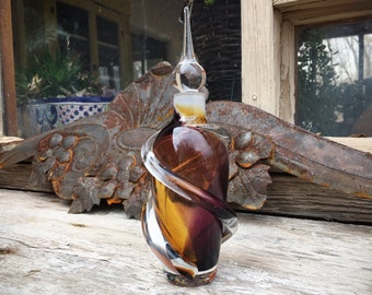 Murano Glass Swirl Perfume Bottle with Original Dauber, Amethyst and Amber Art Glass Scent Bottle