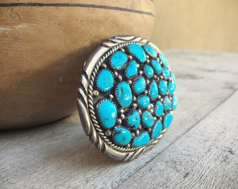 Vintage Authentic Navajo Turquoise Belt Buckle for Men or Women Native American Indian Jewelry