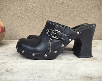Vintage Women's MIA platform black clogs leather buckle and studs wooden heel studded clogs