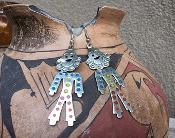 Mexican Alpaca Silver Dancing Clown Earrings, German Silver Jewelry, Long Dangle Circus Lover Gift