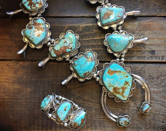 Huge Turquoise Squash Blossom Necklace and Cuff Bracelet, Navajo Native American Indian Jewelry
