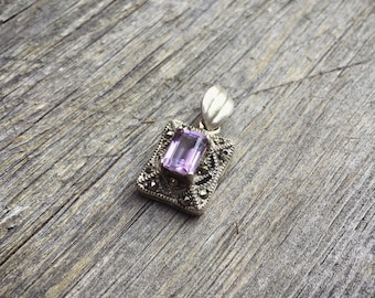 Vintage Sterling Silver Amethyst Marcasite Pendant Necklace February Birthstone Purple Stone