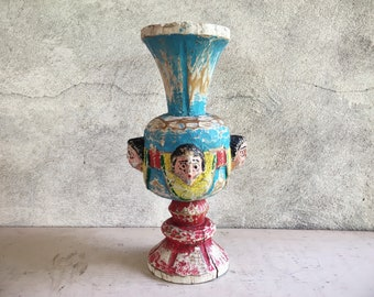 Antique Angel Carved Wood Pillar Candle Holder, Rustic Mexican Decor Architectural Spanish Colonial