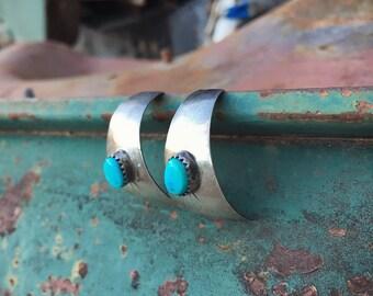 Vintage Sterling Silver Turquoise Domed Half Hoop Earrings for Women, Native American Indian Navajo Jewelry