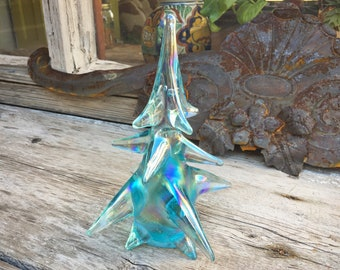 Vintage Iridescent Pressed Glass Christmas Tree Sculpture, Holiday Decorations, Pine Tree