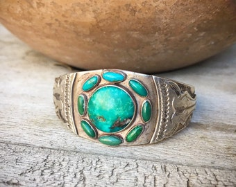 Early Turquoise Cuff Bracelet Circa 1930s to 40s with Whirling Log Motif, Vintage Native American Indian Jewelry