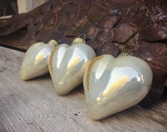 Set of Three Creamy Blown Glass Puffy Heart Ornaments, Christmas Decorations, Wedding Heart Decor