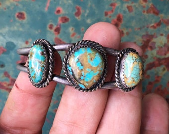 Old Pawn Turquoise and Silver Bracelet for Women with Small Wrist, Navajo Native American Indian Jewelry