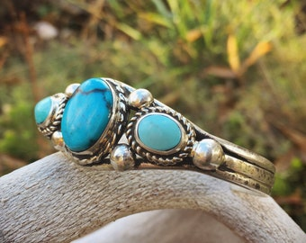 Navajo Made Sterling Silver Turquoise Bracelet for Women, Native America Indian Jewelry