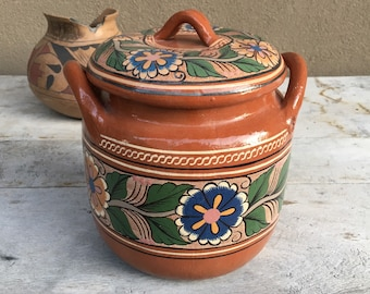 Capula Pottery Lidded Bean Pot, Old Mexico Redware Covered Bowl, Mexican Decor Southwestern