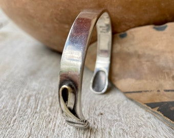 """Vintage Simple Sterling Silver Until There's a Cure Cuff Bracelet 6"""" Wrist, AIDS HIV Awareness"""