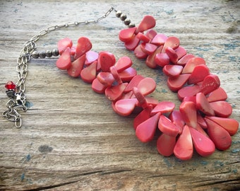 Vintage Red Spiny Oyster Necklace Tabular Beads for Supply, Shell Jewelry Native American