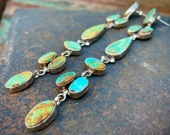 """4-3/4"""" Long Turquoise Earrings by Navajo Jacqueline Silver, Native American Statement Dangles"""