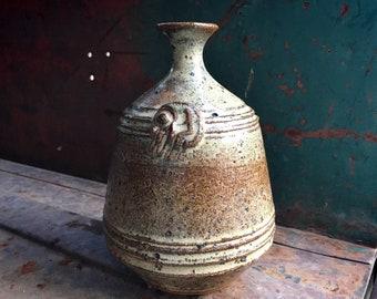 1970s Signed Art Studio Pottery Stoneware Weed Vase Earthtone Glaze, Midcentury Modern Home Decor