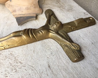 Vintage Brass Wall Crucifix Religious Decor, Catholic Icon, Christ on Cross, Baptism Gift