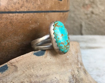Dainty Turquoise Ring for Men or Women Size 6, Southwestern Jewelry Native American Indian Style
