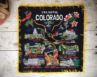 Vintage Colorful Colorado Pillow Cover Size Black Velvet with Gold Fringe, Colorado Gifts, Western Decor