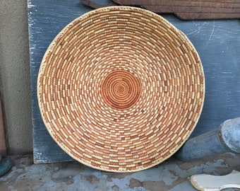 "15"" Shallow Woven Basket Bohemian Decor, Southwestern Decor, Native Style Coiled Basket Wall Decor"