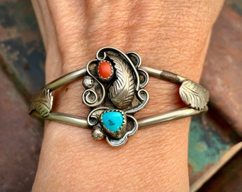 Traditional Navajo Turquoise and Coral Sterling Silver Leaf Cuff Bracelet, Native American Jewelry