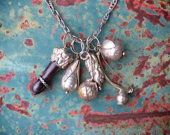 Brazilian Penca de Balangandan Charm Necklace with Good Luck Amulets, Latin American Jewelry