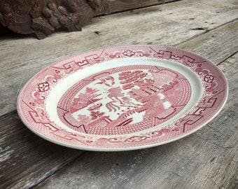 Vintage Old Willow Platter Swinnertons Staffordshire England Red on White Transferware English Cottage Decor