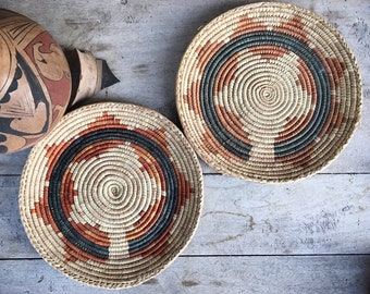 Two Faded Flat Woven Basket Plates Bohemian Decor, Southwestern Decor, Native Style Coiled Basket