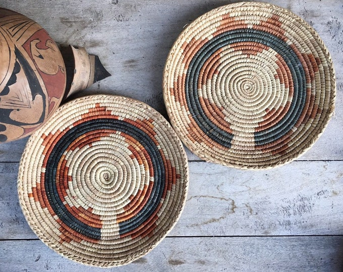 Featured listing image: Two Faded Flat Woven Basket Plates Bohemian Decor, Southwestern Decor, Native Style Coiled Basket