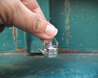 Navajo Elizabeth Whitman Miniature Teapot Turquoise and Silver Charm, Native American Indian Jewelry