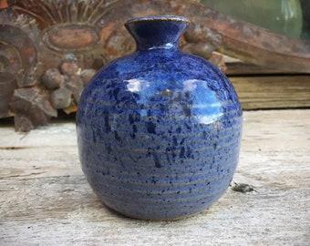 Blue Glaze Studio Pottery Bud Vase, Vintage Hand Thrown Weed Pot Dry Flower Holder