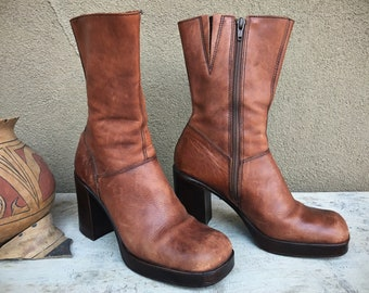 1990s Platform Boot Women Size 9 Brown Leather Steve Madden Chunky Heel Made in Brazil