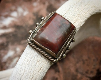 1940s Fred Harvey Era Petrified Wood Ring for Men or Women Size 7.5, Vintage Southwestern Jewelry
