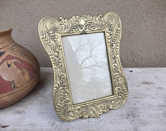 Small Vintage Etched Brass Picture Frame with Glass for Table Top, Wedding Frame